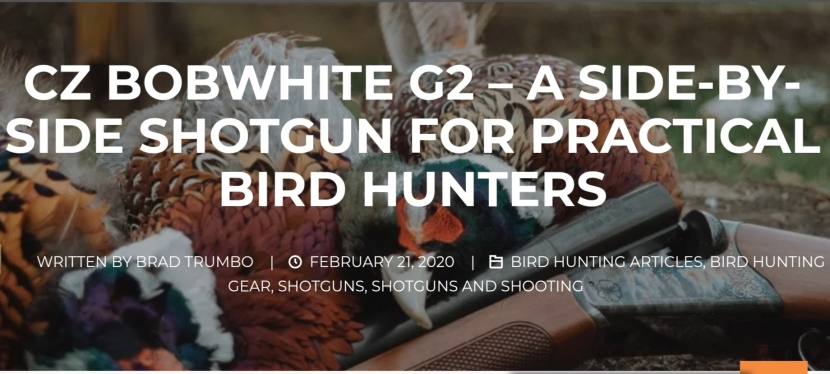 CZ Bobwhite G2 – A Side-by-Side Shotgun for Practical Upland Bird Hunters